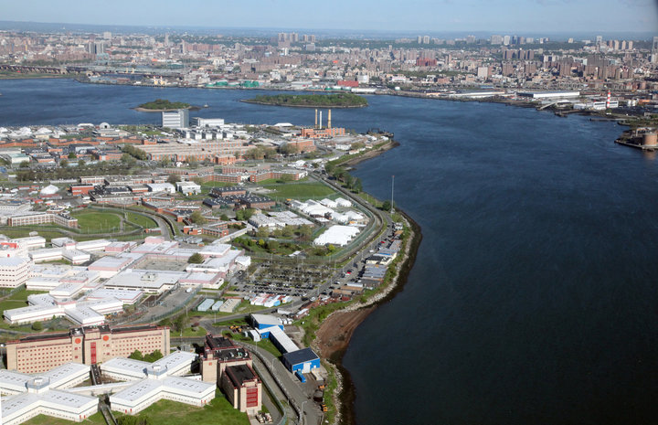 Aerial view of Rikers Island